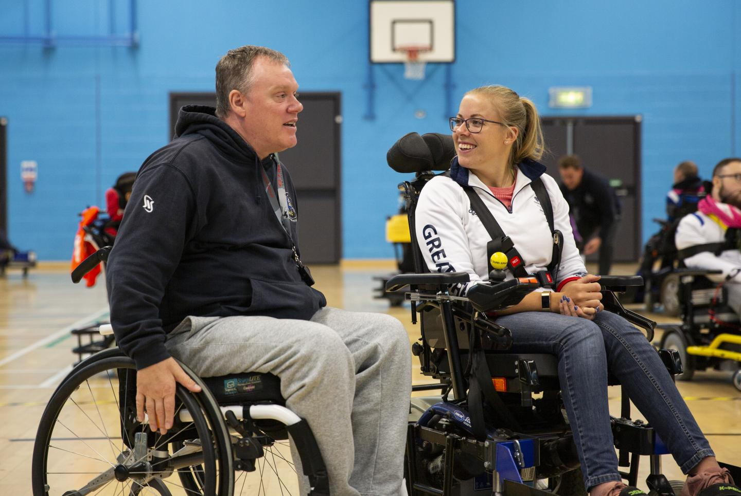 Hannah Cockroft tries powerchair football
