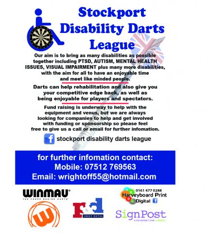 Stockport disability darts league is a totally inclusive organisation for both disabled persons and carers