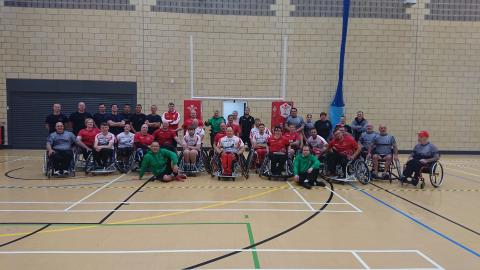 Team line up at Ebbw Vales Wheelchair Sports Club's first birthday bash July 2019.