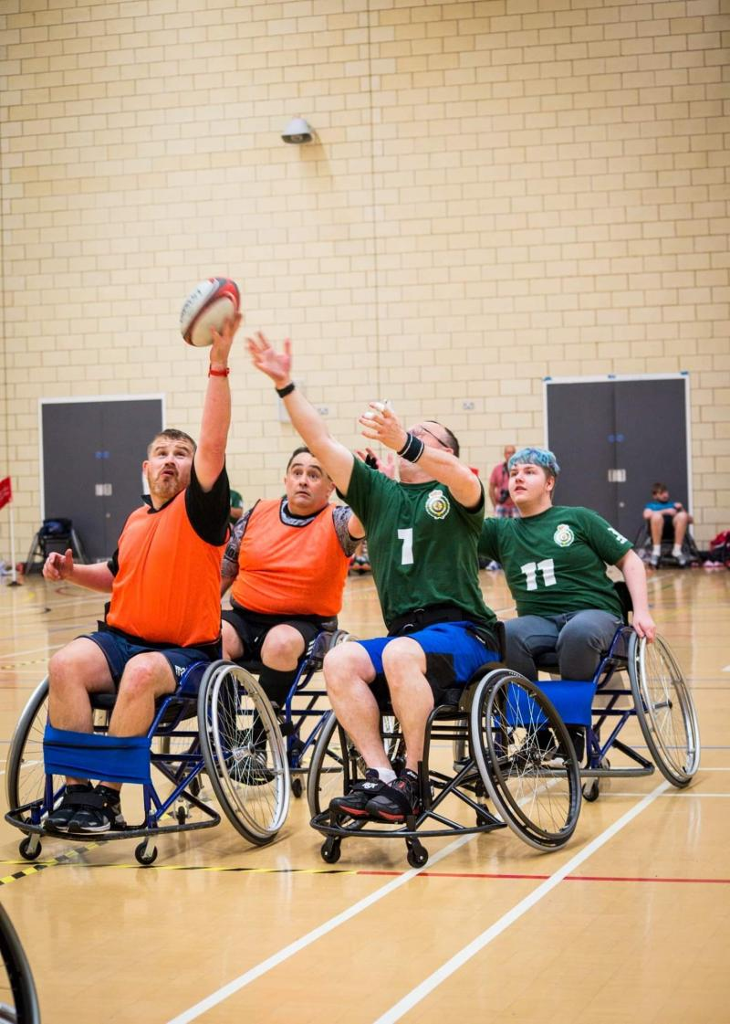 A line out in wheelchair Rugby Union Se7ens.