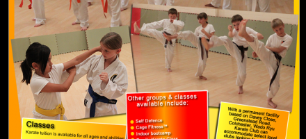 Colchester Wado Ryu Karate Club advert with children practicing kicks and martial arts positions